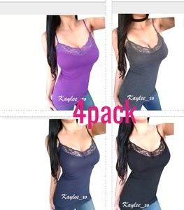 Bundle 4pack cami layering lace long solid top
